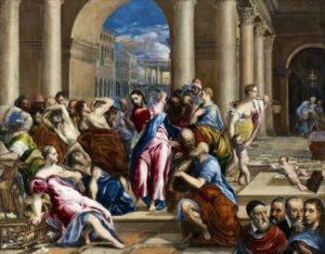 Exposition Greco -Grand Palais : le migrant magnétique Jesus chasant les marchands du temple